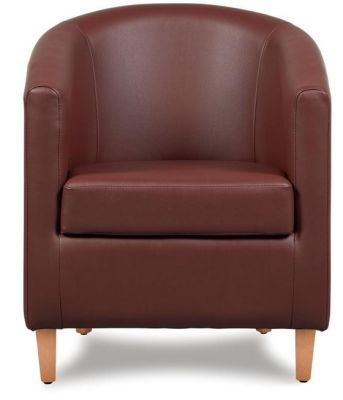 Tiger Brown Leather Tub Chair Front Shot