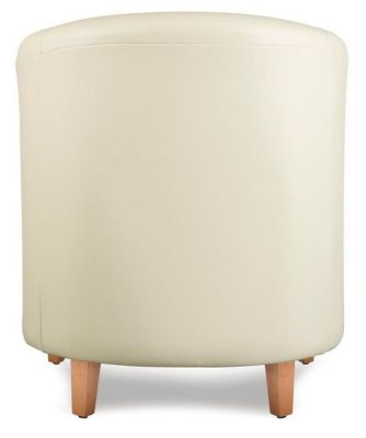 Tiger Cream Leather Tub Chair Rear Shot