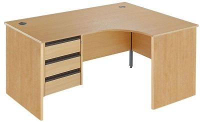 Maddellex Right Hand Corner Desk In Beech With Lockable Three Drawer Pedestal