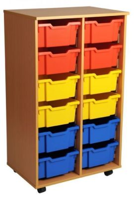 Aztec Double 6 High Deep Tray Classroom Storage Unit With Coloured Drawers