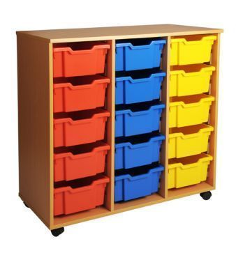 Aztec Mobile Triple 5 High Deep Tray Storage With Coloured Drawers