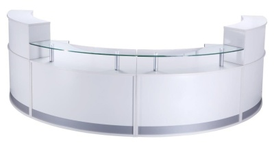PB Deluxe Reception Desk In High Gloss White Finish
