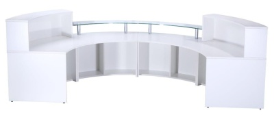 Pb Deluxe Reception Desk In High Gloss White Rear View