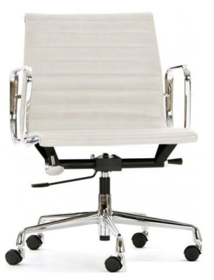 Aria Designer Swivel Chair In White Leather