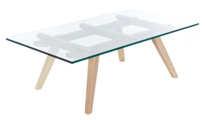 Ali Sticotti Coffee Table With A Glass Top And Ash Legs
