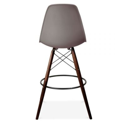 Dsw High Stool With Walnut Legs And A Warm Grey Seat Rear View
