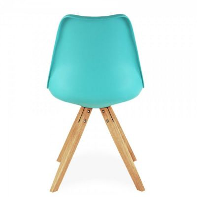 Pyramid Chair With A Turquoise Seat Rear View