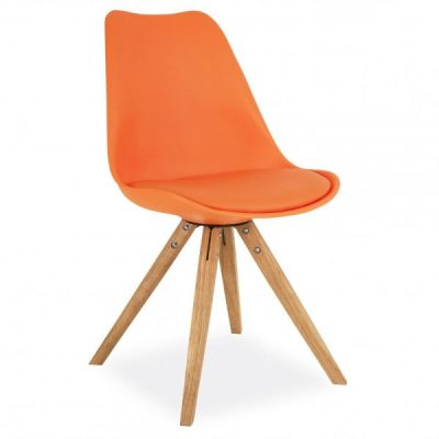Pyramid Chair With An Orange Seat Front Angle