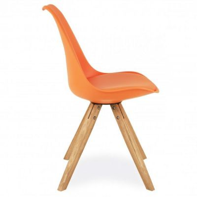 Pyramid Chair With An Orange Seat Side View