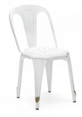 Les Muebles Vintage Steel Chair In White Front Angle