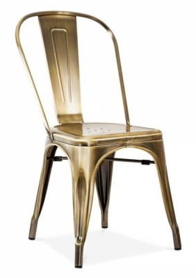 Tollix Side Chair In An Antique Copper Finish Front Angle