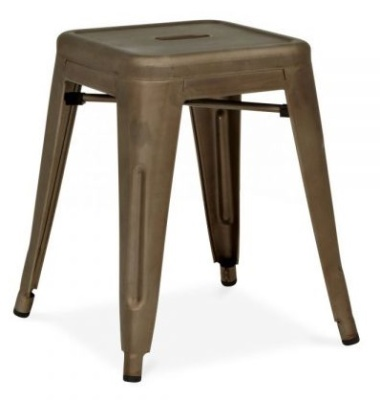 Xavier Low Stool With An Antique Gun Metal Finish