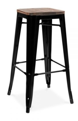Xavier Pauchard Black Stool With A Wiiden Seat