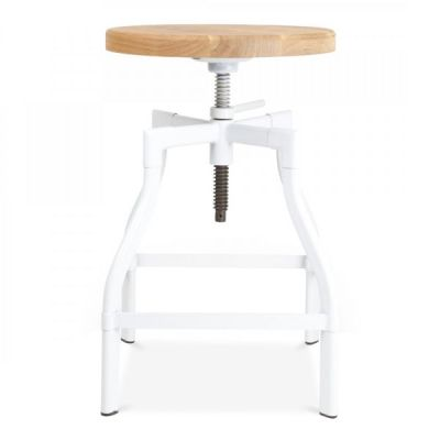 Industrial Turner Stool White Frame