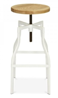 Industrial Turner Stool White Frame 650mm High