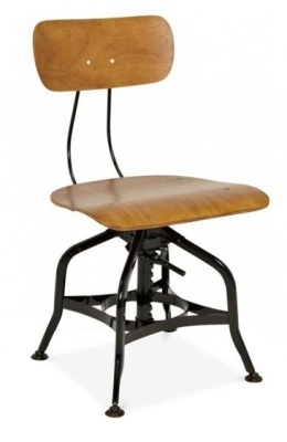 Toledo Stool With A Wooden Seat And Back Front Angle