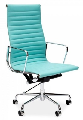 Eames Style Aria Executive Chair In Turquoise Leather