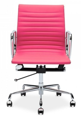 Eames Ribbed Executive Chair In Pink Leather