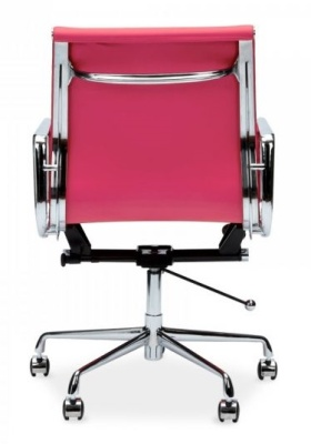 Eames Mid Back Leather Chair In Pink Rear View