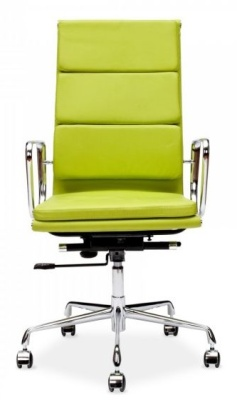 Eames High Back Soft Pad In Lime Green