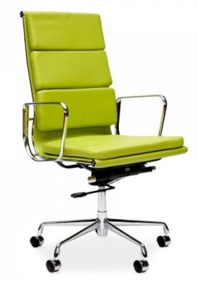 Eames High Back Soft Pad In Green Front Angle Shot