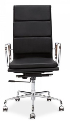 Eames High Back Soft Pad Chair In Black Leather