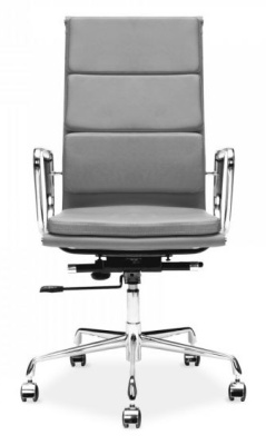 Eames Soft Pad High Back Chair In Grey