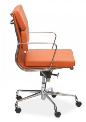 Eames Mid Back Orange Leather Side View