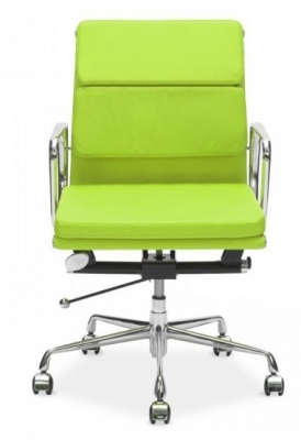 Eames Mid Back Soft Pas In Lime Green Leather