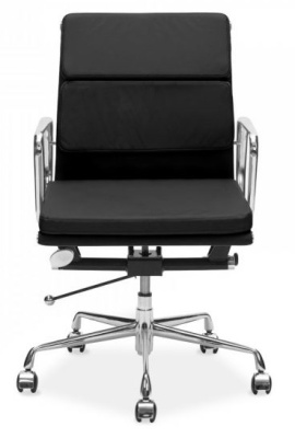 Eames Mid Back Black Leather Chair