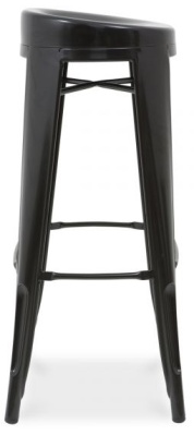 Xavier Pauchard Black High Stool With A Round Seat Side View