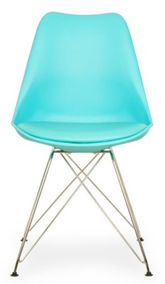 Eames Eiffel Chair In Turquoise With A Padded Seat
