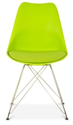 Eames Inspired Poly Chair With Eiffel Legs And A Seat Pad In Lime Green
