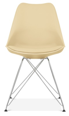 Eames Style Poly Chair In Cream With Eiffel Legs And An Upholstered Seat