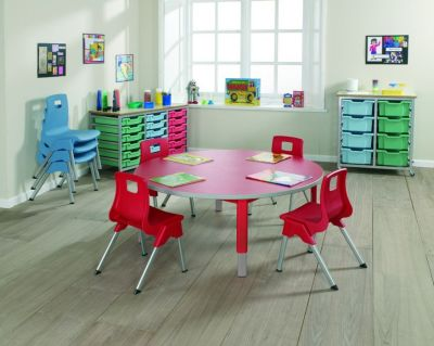 Start Right Round Height Adjustable Nusery Tables In Classroom