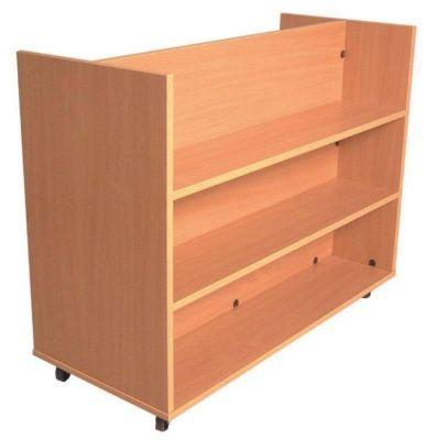 Double Sided Flat Shelf Book Trolley