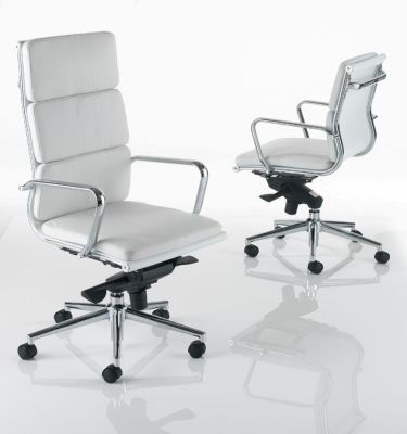 Eames Boardroom High Back And Short Back White Leather Chair With Chrome Arms And Frame