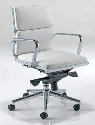 Eames Mid Back Executive Chair In White Luxurious Soft Padded Leather