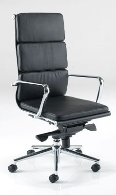 Eames Soft Touch Black Leather Swivel Managers Chair With Chrome Armrests
