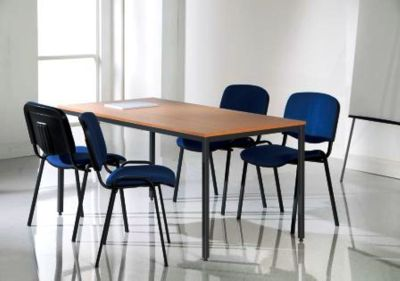 Classroom Using Flexi Beech Rectangular Table With Steel Frame And Blue Fabric Chairs