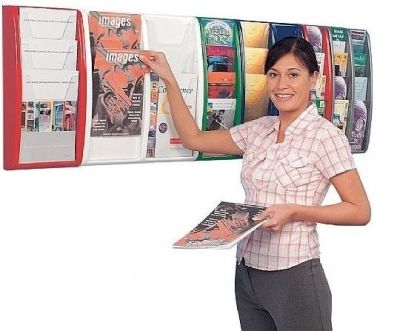 Panorama Wall Mounted Leaflet Displays In Different Sizes And Colours