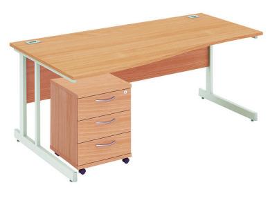 Abacus Left Hand Wave Desk With Underdesk Pedestal