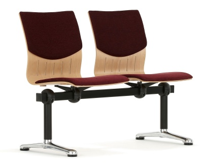 Isis Two Seater Beam With Upholstered Seat And Back Front Angle