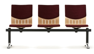 Isis Three Seater Beam With Upholstered Seat And Back Front View