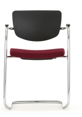 Contour Chair With A Cantilver Frame And Upholstered Seat Front Facing