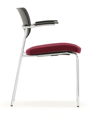 Contour Conference Chair With Upholstered Seat And Short Arms