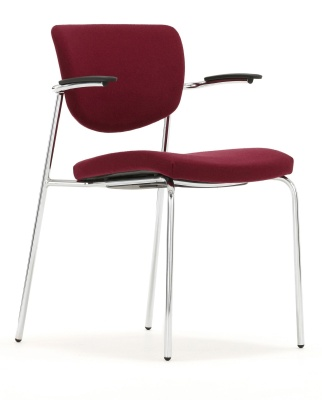Contour Conference Chair With Shorts Arms Fully Upholstered Front Angle