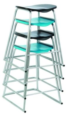 Stacking Lab Stools With Silver Frame And Black And Turquoise Seats