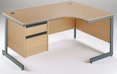Maddellex Right Hand Corner Desk With Two Drawer Pedestal In Beech With Cantilever Frame