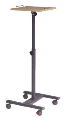 Height Adjustable Column Lectern On Castors With Powder Coated Steel Frame